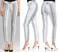 $215 NWT 7 SEVEN FOR ALL MANKIND JEANS ANKLE SKINNY BLACK WHITE REPTILE PRINT