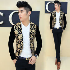 Casual Men's 2015 Golden Flower 1 Button Slim Party Sport Coat Blazers Jacket