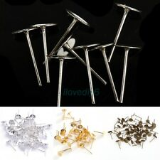 100pcs Metal Flat Earring Earrings Post Stud Jewelry Findings 12mm