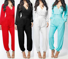 Womens Bodycon Sexy V-Neck Bandage Long Sleeve Rompers Clubwear Dress Jumpsuits