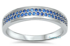 Sterling Silver 925 HALF ETERNITY WEDDING BAND BLUE SAPPHIRE CZ RING SIZES 5-10