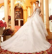 Gorgeous Cute  White A-line Luxury Beading Handmade Wedding Dresses Custom Made