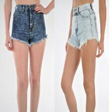 New Cute HIGH WAISTED Acid Stone Wash Denim Shorts with Raw Edges Made in USA