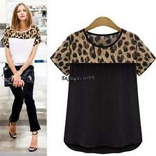 Women Leopard Casual Plus Size Clothing Short Sleeve Chiffon Blouse Shirt OO55