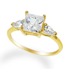 Ladies 14K Yellow Gold Solid Solitaire Ring with Accents CZ Clear Stone