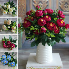 6 Branches Artificial Fake Peony Flower Arrangement Home Hotel Room Decoration
