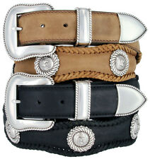 The Silver Stallion - Western Conchos Genuine Leather Scalloped Belt, 1-1/2""