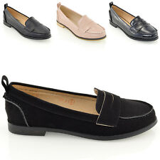 NEW WOMENS FLAT BLACK LOAFERS SLIP ON SCHOOL WORK OFFICE LADIES PUMPS SHOES 3-8