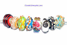 Handmade Murano Glass Lampwork Pattern Charm Bead Big Hole fit European Bracelet