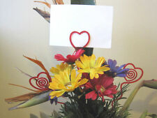 """Floral Picks RED HEARTS 12, 25 or 50pk Card Holders 12"""" Love Valentines Wedding"""