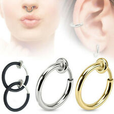 NEW 3 Colors Fake Spring Action Non Piercing Nose Septum/Ear Cartilage Ring TINA