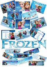 6 PERSONALISED FROZEN CHOCOLATE BAR WRAPPERS. MIXED DESIGNS. BIRTHDAY PARTY BAG
