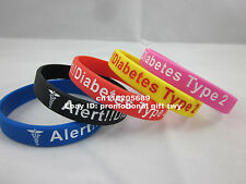 1x Medical Type 2 Diabetes 5 Colours Silicone Debossed Wristband Bracelet Band