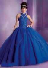 Blue Or Red Halter Neck Organza Ball Gown Handmade Quinceanera Dresses Custom