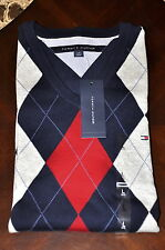 NWT TOMMY HILFIGER Mens ARGYLE V NECK SWEATER Size S M L NEW