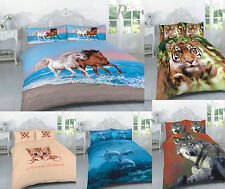 Animal 3D Panel Print Duvet Quilt Cover Bedding Set & Pillowcases