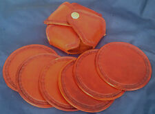 Natural Veg Tan Coaster Set Choice of Colour & Design Handmade 100% Real Leather