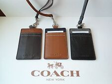 NWT Coach F61313 Heritage Web All Leather Lanyard ID Badge MSRP $75 BK BR SD