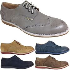 Parrazo Men Dress Shoes Real Leather Oxfords Wing Tip Lace up Rubber Sole Jer2