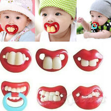 Funny Dummy Dummies Pacifier Novelty Teeth Moustache Baby Chile Soother UKTOP