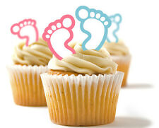 ✿ 24 Edible Rice Paper Cup Cake Toppings Baby Feet Pink and Blue✿