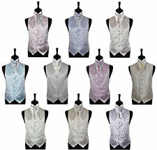 """Men's Scroll Special Occasion Wedding Groom Ascot Waistcoat Only Size 34"""" - 60"""""""