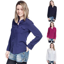 Women's Blouse Shirt Tops Long Sleeve Stand Collar Pockets Casual Loose