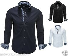 CARISMA Mens plain cotton shirt Button Down collar Formal Casual Long sleeve BIG
