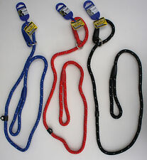 NEW STYLE ANCOL NYLON REFLECTIVE ROPE SLIP DOG LEAD - 3 Colours