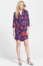 RRP$398.00 Diane von Furstenberg 'Freya' Print Stretch Silk Shirtdress Poppy Red
