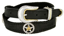 "Texas Star Bronco Rider Concho Mens Western Leather Belt, 1"" Taper Belt - Black"