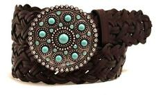 Ariat Western Womens Belt Leather Braided Turquoise Round Buckle Brown A1517602