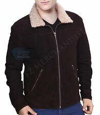 The Walking Dead Rick Grimes Season 4 REAL Suede Brown Fur Collar Leather Jacket