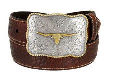 Texas Longhorn Buckle American Bison Tan Leather Western Belt