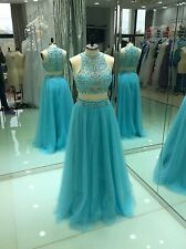 2015 New Two Piece Prom Ball Party Dresses Evening Gowns US Size 2 4 6 8 10 12