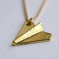 Paper Plane Necklace Origami Airplane Charm Gold Plated Chain UK