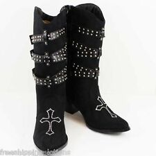 WESTERN COWGIRL RHINESTONE CROSS BLACK STUDDED STRAP WOMENS DRESS BOOTS  SIZE 7
