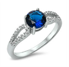 Sterling Silver 925 PRETTY ROUND BLUE SAPHIRE CLEAR CZ ENGAGEMENT RING SIZE 5-10
