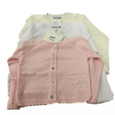 Baby & Girls Fine Knit Cardigan Long Sleeve Sequin Trim Age baby to 6 years
