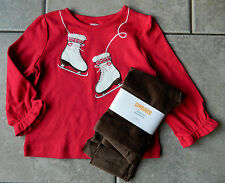 Size 18-24 months Outfit Gymboree Winter Cheer,leggings,top,ice skates,NWT, 2 pc