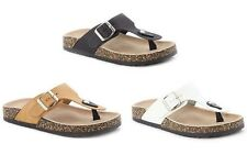 New Women Thong Flatform Cork Footbed T-Strap Buckled Flat Flip Flop Sandals
