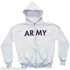 GREY US ARMY IMPRINTED ZIP-UP HOODED SWEATER - Winter Warm, Drawstring Hood