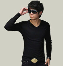 Mens Slim Fit Cotton + Lycra Long Sleeve V-Neck Muscle Casual T-Shirt Tops