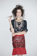 Anthropologie Sequined Suelta Skirt Sizes 4 & 6, Red Pencil By Moulinette Soeurs