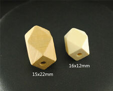 20pcs Oblong Unfinished Natural Wood Beads 14 Hedron Geometric Figure Solid