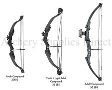 ASD Right Handed Black Archery Compound Bow Set 20, 25 or 55 lbs Child - Adult