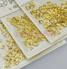 100PCS 3D Hollow Triangle Round Square Alloy Nail Art Metal Sequins Decorations