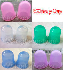 2 ANTI CELLULITE SILICONE VACUUM CUPPING BODY MASSAGE RUBBER CUPS- SET OF 2 CUPS