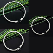 European Charms Bracelets Stainless Steel Wire Bangle Fit Spacer Beads
