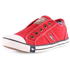 Mustang 1099-401 Womens Canvas Red Trainers New Shoes All Sizes